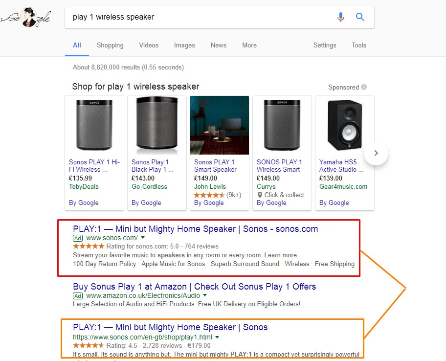 Organic and PPC listings side by side